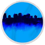 Nashville  Skyline Blue  Round Beach Towel by Enki Art