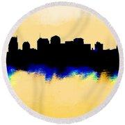 Nashville  Skyline  Round Beach Towel by Enki Art