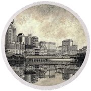 Round Beach Towel featuring the mixed media Nashville Skyline II by Janet King
