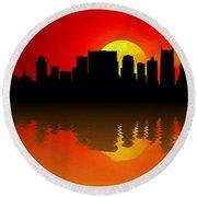 Nashville Skyline Sunset Reflection Round Beach Towel