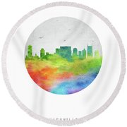 Nashville Skyline Ustnna20 Round Beach Towel by Aged Pixel