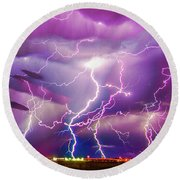 Nasty But Awesome Late Night Lightning 008 Round Beach Towel