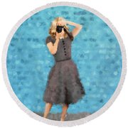 Round Beach Towel featuring the digital art Natalie by Nancy Levan