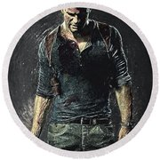 Round Beach Towel featuring the digital art Nathan Drake - Uncharted by Taylan Apukovska
