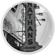 Nathans Famous Hot Dogs Black And White Round Beach Towel