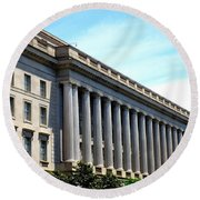 National Archives 2 Round Beach Towel by Randall Weidner