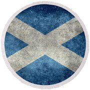 National Flag Of Scotland Vintage Version Round Beach Towel