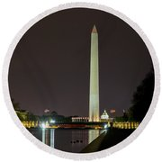 Round Beach Towel featuring the photograph National Mall At Night by Angela DeFrias