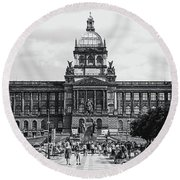 Round Beach Towel featuring the photograph National Museum At Wenceslas Square. Prague by Jenny Rainbow