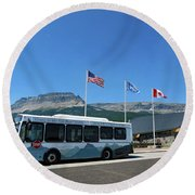 Round Beach Towel featuring the photograph National Parks. St. Mary Visitor Center At Glacier by Ausra Huntington nee Paulauskaite