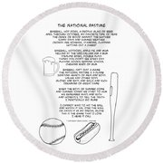 Round Beach Towel featuring the drawing National Pastime by John Haldane