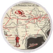 Nations Business Map Of The Air - North America - Air Routes - Vintage Illustrated Map Round Beach Towel