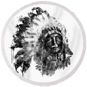 Round Beach Towel featuring the mixed media Native American Chief Black And White by Marian Voicu