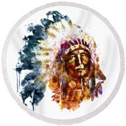 Native American Chief Round Beach Towel