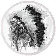 Round Beach Towel featuring the mixed media Native American Chief Side Face Black And White by Marian Voicu