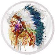 Native American Chief Side Face Round Beach Towel