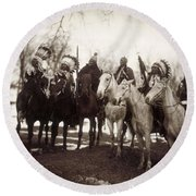 Round Beach Towel featuring the photograph Native American Chiefs by Granger