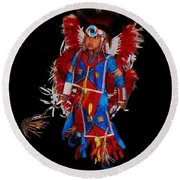 Native American Dancer Round Beach Towel