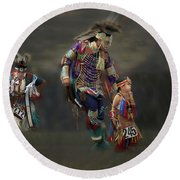 Native American Dancers Round Beach Towel