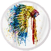 Native American Feather Headdress   Round Beach Towel