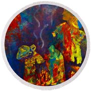 Round Beach Towel featuring the painting Native American Fire Spirits by Claire Bull