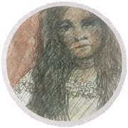 Native American Girl Round Beach Towel