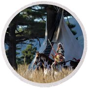 Native American In Full Headdress In Front Of Teepee Round Beach Towel by Nadja Rider