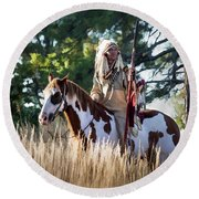 Native American In Full Headdress On A Paint Horse Round Beach Towel by Nadja Rider