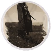 Native American Indian Portrait Profile Series - A Grizzly Bear Brave No 5 Round Beach Towel