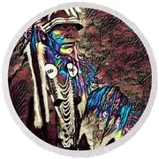 Plains Indian Warrior With Buffalo Headdress In The Trees Round Beach Towel
