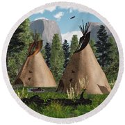 Native American Mountain Tepees Round Beach Towel by Walter Colvin