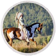 Native American On His Paint Horse Round Beach Towel by Nadja Rider