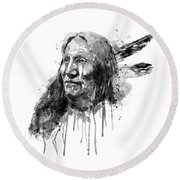Round Beach Towel featuring the mixed media Native American Portrait Black And White by Marian Voicu