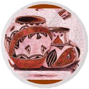 Round Beach Towel featuring the painting Native American Pottery Mosaic by Paula Ayers
