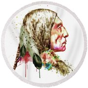 Native American Side Face Round Beach Towel