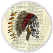 Native American Skull Round Beach Towel