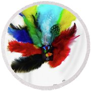 Native American Tribal Feathers Round Beach Towel