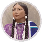 Native American Woman Round Beach Towel