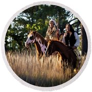 Native Americans On Horses In The Morning Light Round Beach Towel by Nadja Rider