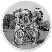 Native Americans With Bicycle Round Beach Towel