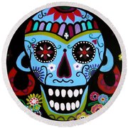 Round Beach Towel featuring the painting Native Dia De Los Muertos Skull by Pristine Cartera Turkus