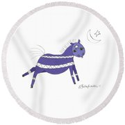 Native Horsey Round Beach Towel by Shelley Overton