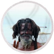 Round Beach Towel featuring the photograph Native Man by Gary Wonning