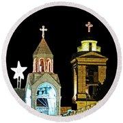 Nativity Church Lights Round Beach Towel