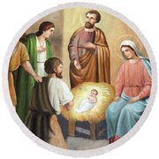 Nativity Scene Painting At Nativity Church Round Beach Towel by Munir Alawi