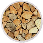 Natural Wood Round Beach Towel
