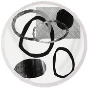 Natural Balance 2- Abstract Art By Linda Woods Round Beach Towel