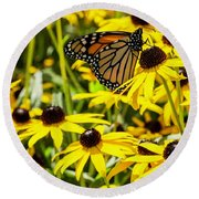 Monarch Butterfly On Yellow Flowers Round Beach Towel