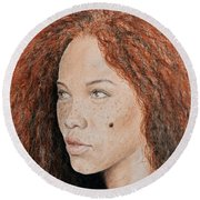 Natural Beauty With Red Hair  Round Beach Towel