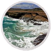 Round Beach Towel featuring the photograph Natural Bridge Aruba by Suzanne Stout